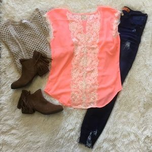 Coral and cream lace back top